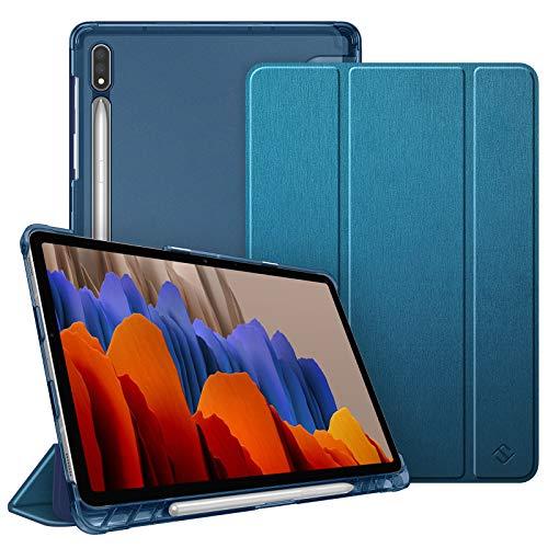 FINTIE Funda para Samsung Galaxy Tab S7 11' 2020 con Soporte para S Pen - Trasera Transparente Mate Carcasa Ligera con Auto-Reposo/Activación para Modelo SM-T870/T875, Azul Verdoso