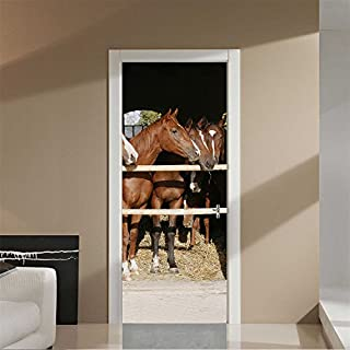AmazingWall Stable 3D Horse Door Decor DIY Home Decoration Closet Poster Door Wall Mural Deca 30.3x78.7
