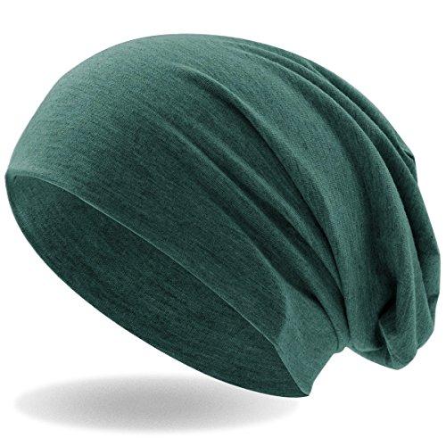 Hatstar Klassische Slouch Long Beanie Mütze, leicht und weich, für Damen und Herren (Jeans Grün meliert)
