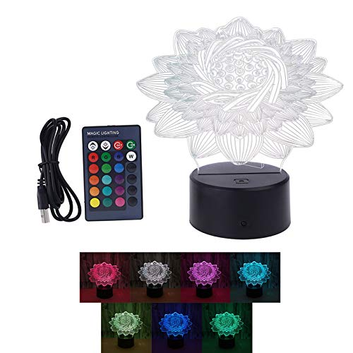 JUNESUN Creative 3D Lotus Colorful Night Light Crack Base Color Changing USB Remote Control LED Desk Lamp Home Bedroom Decoration Lamp