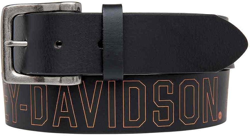 Harley-Davidson Men's Milwaukee Original Belt, Black Leather Belt HDMBT11031-BLK