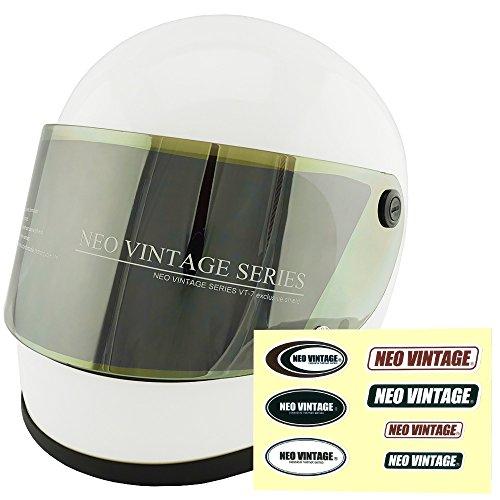 NEO VINTAGE レトロ族ヘルタイプ フルフェイス SG規格品 ステッカー付 [ホワイト×イエローミラーシールド 白 Lサイズ:59-60cm対応] VT-7 バイクヘルメット