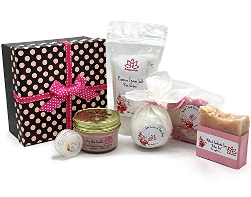 Mother's Day Bath Luxury Spa Gift Set For Women - Natural Oils and Epsom Salt Bath Bombs, Organic Shea Butter Soap - Beautiful Polka Dot Gift Box - Best Gift for Women, Mother, Mom, Girls, Her