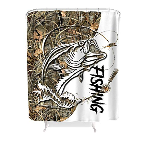 CHenxq-Leggings Fishing Tattoo Decorative Shower Curtain with Hooks for Fashion Bath Curtain White 72x72inch