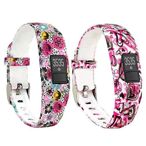 T-Bluer Ersatz-Armband mit Metallschnalle, Bänder für Garmin Vivofit 3 und Vivofit JR mit Verschlüssen, Fitness-Armband geeignet (ohne Tracker), 2PCS07