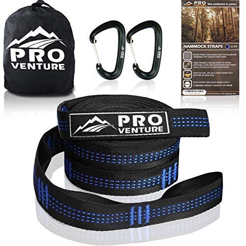 Pro Hammock Tree Straps with CARABINERS - 11 Feet, Adjustable 44 Loops, 400LB Rated (1200LB Tested),...