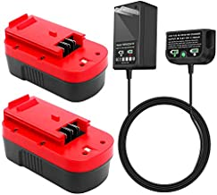 2Packs HPB18 Replacement Battery with Charger, Compatible with Black and Decker 18V Battery HPB18-OPE 244760-00 A1718 HPB18 A18 Firestorm FS180BX FS18BX FS18FL FSB18 Power Tools (Charger Included)
