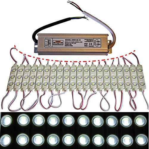 10x-100x LED Module +- Netzteil - kaltweiß 12`000K - 12V - 3X 5730 SMD Werbung (20x mit Netzteil)