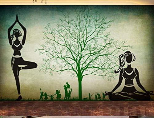 SKTYEE Retro Nostalgie-großer Baum-Schattenbild-Yoga-Pavillon-Wand-Yoga-Schönheits-Turnhallen-Dekorations-Wandgemälde-kundenspezifische Tapete des Foto-3D, 200x140 cm (78.7 by 55.1 in)