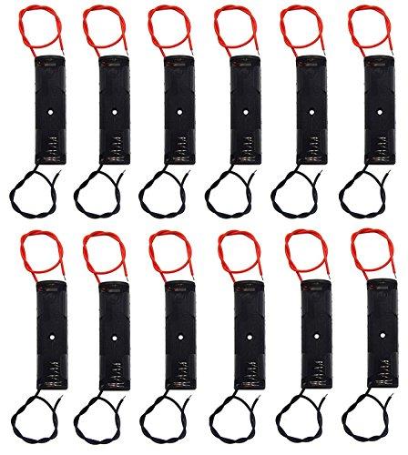WAYLLSHINE 12 Pcs/1 Dozen 1 x 1.5V AA Battery Spring Clip Black Plastic 1 x 1.5V AA Battery Case Holder Box Black Red Wire Leads