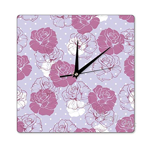 Mesllings Scale-Free Wall Clocks Abstract Purple Rose Pattern Square W