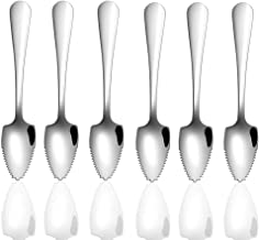 RXING 2pcs Fruit Spoon with Serrated Edge Long Handle Grapefruit and Dessert Spoon Coffee Stirring Spoons for Fruit Dessert Cheese Vegetables