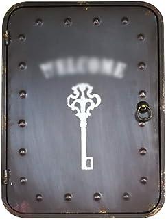 Armoires à clés Murale Ancienne en Fer Forgé Vintage Boîte À Clés Murale pour Bureau Boîte De Rangement pour Clés De Porte...