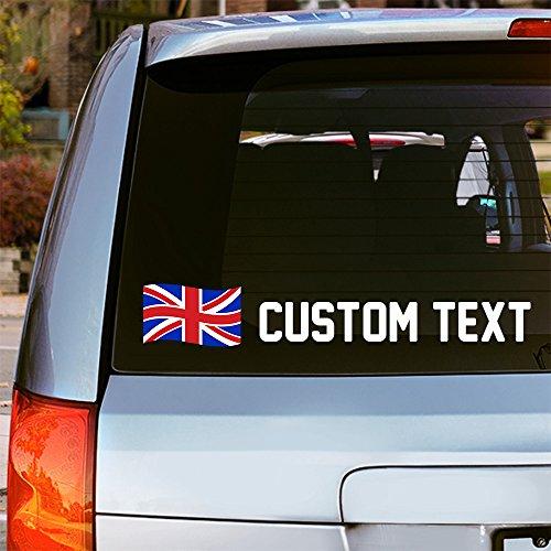 Oliver's Labels Vinyl-Aufkleber, Motiv: Flagge des Vereinigten Königreichs, für Fenster, Auto, Schriftart, Farbe & Text wählbar