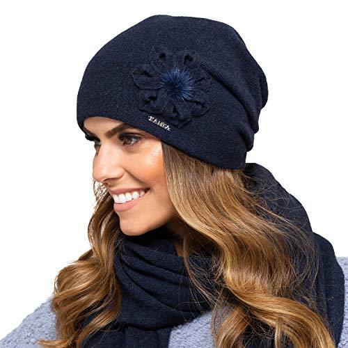 Kamea Damen Mütze Kopfbedeckung Herbst Winter Nebraska, Dunkleblau,Uni