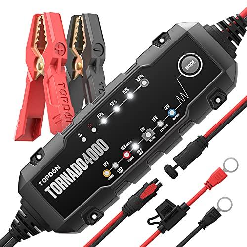TORNADO4000 4-Amp Automatico Carica Batterie per Auto, 6V/12V Unità di ricarica e mantenitore della Batteriacon 10-passaggi di ricarica e 8-modalità di ricarica, Adatto per più tipi di Batterie