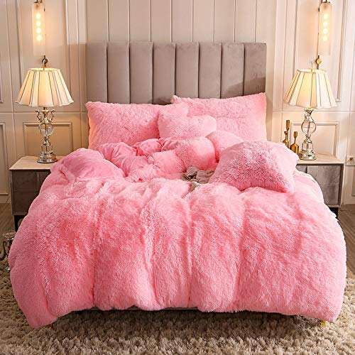 Uhamho Faux Fur Velvet Fluffy Bedding Duvet Cover Set Down Comforter Quilt Cover with Pillow Shams, Ultra Soft Warm and Durable (Queen, Pink)