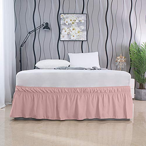 AYASW Bed Skirt 17-18 Inch Drop Dust Ruffle Three Fabric Sides with Elastic No Top Easy On Twin Size Blush Pink