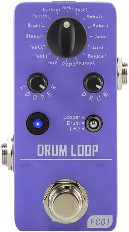 ZZABC JTPJTB FC01 Drum Looper Pedal Guitar Guitar Drum Loop Effects Pedal con 20 Minutos Grabación 16 Grooves Tumm Tempo