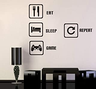 TOARTi Eat Sleep Game Repeat Wall Sticker Video Gamer Wall Sticker Game Room Decor Children Gift Nursery Boys Room Wall Vinyl Decal Lettering Stickers Home Decor