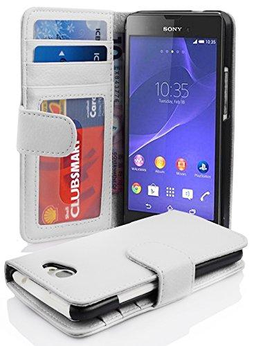 Cadorabo Hülle für Sony Xperia M2 / M2 Aqua in Magnesium WEIß – Handyhülle mit Magnetverschluss & 3 Kartenfächern – Hülle Cover Schutzhülle Etui Tasche Book Klapp Style