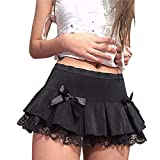 Lace Up Goth Y2K Woman Skirts Pink Stripe Plaid Lace Trim Pleated Skirt Punk Dark Academia Aesthetic E Girl Clothes (Black, S)
