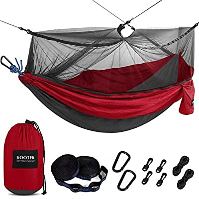Kootek Camping Hammock with Mosquito Net Double & Single Portable Hammocks Parachute Lightweight Nylon with Tree Straps for Outdoor Adventures Backpacking Trips (Dark Red & Dark Grey, Large)