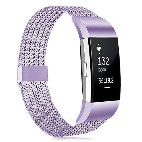 Tobheo Correa Compatible para Fitbit Charge 2 Correa Mujeres Hombres, Deportivo Pulsera de Reemplazo Ajustable Acero Inoxidable para Charge 2