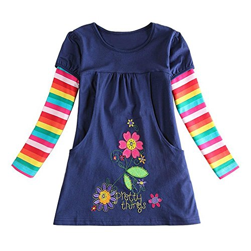 OVERDOSE Nettes Kleinkind Baby Kind Blumen Druck Stickerei-Prinzessin Party Kleid Bluse Dress Langarm T-Shirts Party Kleid Mini Kleid (4T,A-Navy)