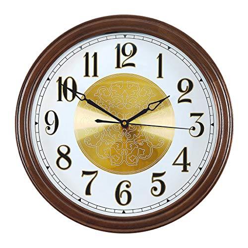 Reloj de Pared Reloj de pared de madera maciza Marco de nuez Reloj redondo Reloj de pared Sala de estar Atmósfera silenciosa Reloj de moda Decoración del hogar Reloj de pared Elegante reloj para pared