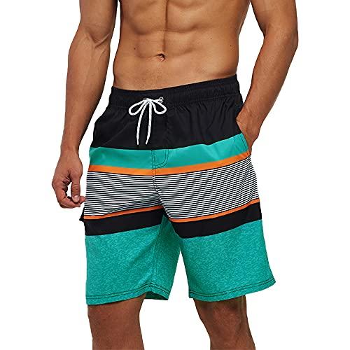 Arcweg Mens Swimming Shorts Knee Length with Pockets Swimming Trunks Mens Long Adjustable Drawstring Elastic Waist Board Shorts Surf Soft Mesh Lining Beach Shorts Watershorts New Green Stripes (L) EU