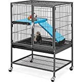 Topeakmart Rolling Metal Small Animal Cage for Adult Rats Ferrets Chinchillas Guinea Pigs Single Unit Critter Nation Cage w/Removable Ramp & Platform Black