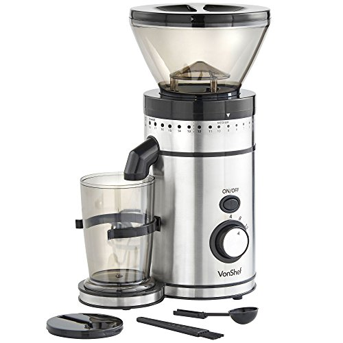 VonShef Premium Burr Coffee Grinder with 18 Adjustable Settings, 4-16 Cup