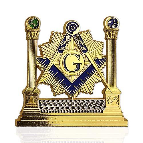 Masonic Pillars Car Emblem Shining Square & Compass Freemason auto Badge