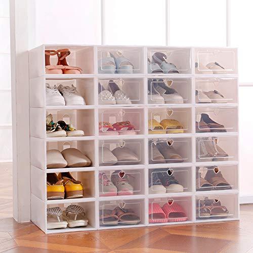 Sinbide 6 x / 12 x Cajas de Zapatos Plástico, Caja Guardar Zapatos, Calcetines, Juguetes, Cinturones para la Organización de Hogar, Oficina, Plegable, 31.5cm*21.5cm*12.5cm (Blanco, 12)
