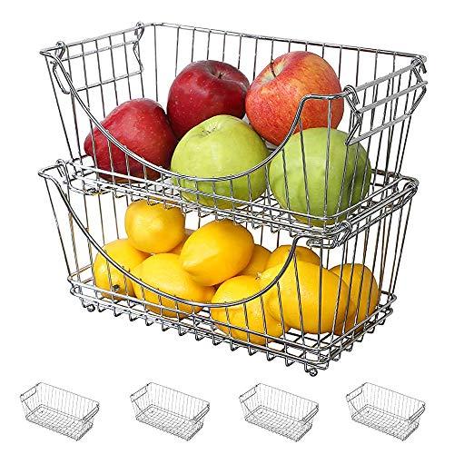 Smart Design Stacking Baskets Organizer - Medium (12.63 x 5.5 Inch) - w/Handle - Steel Metal - Food, Fruit, & Vegetable Safe - Kitchen [Chrome] - Set of 6