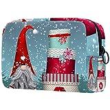 Neceser de Maquillaje Estuche Escolar para Cosméticos Bolsa de Aseo Grande Folklore Navidad Invierno Forrest Nevado Colorful