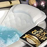 Premium Bathtub Pillow, Soft And Durable [10 Anti-Slip Suction Cups] Extra Cushioned Design Cradle Neck, Head And Shoulders Support, Bath Dry Fabric Provides Cooling Effect | With Machine Washable Bag