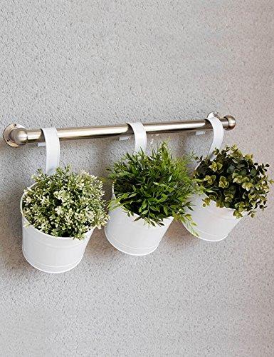 Étagères à Fleurs polyvalentes Fer à Repasser Fauteuil à Fleurs Fauteuil à Barres de Style européen Balcon Fauteuil à Fleurs Hanging Guardrail Bonsai Frame 1 Set 3 Pièces pour intérieur et extérieur
