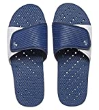 Showaflops Mens' Antimicrobial Shower & Water Sandals for Pool, Beach, Dorm and Gym - Navy/White Slide 7/8
