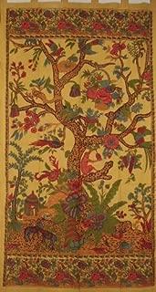 India Arts Tree of Life Tab Top Curtain-Drape-Door Panel-Mustard