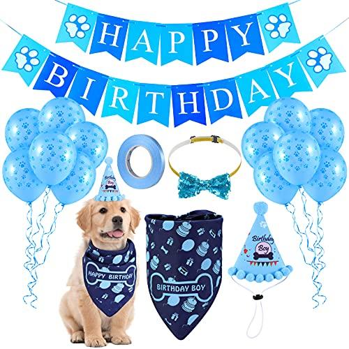 LIGNEST Juego de 16 piezas de suministros para fiesta de cumpleaños de perro – Juego de bandana de cumpleaños para perros pequeños, medianos y grandes (azul)