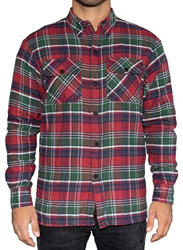 Brubaker motorfiets hemd met beschermende voering van aramide - beschermende zakken - Biker flanel overhemd tartan in houtval-look - Schotse ruit rood groen