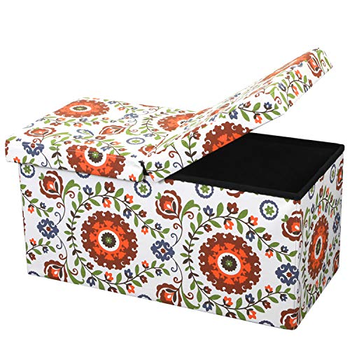 Otto & Ben Folding Toy Box Chest with SMART LIFT Top, Mid Century Upholstered Ottomans Bench Foot Rest, Retro Floral
