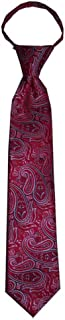 Children's tie for ages 4-9 years old Merlot Red and a Touch of Black Paisley Boys Zipper Tie