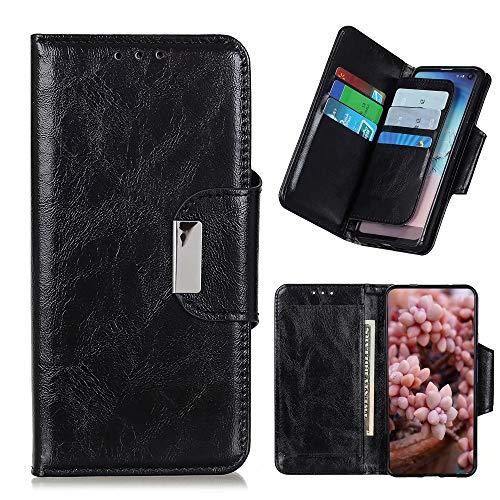 TingYR Capa para Motorola One Fusion, capa flip elegante com compartimentos para cartão à prova de choque, capa para smartphone Motorola One Fusion. (preta)