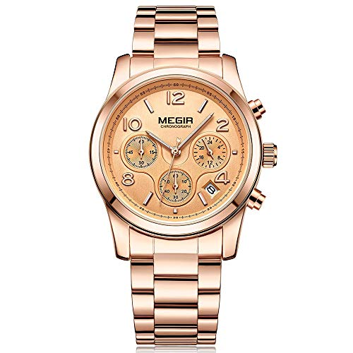 Reloj Analógico Automático para Mujer, Relojes Analógicos Moda Casual para Mujer con Banda de Acero Inoxidable (2057 Rosa)