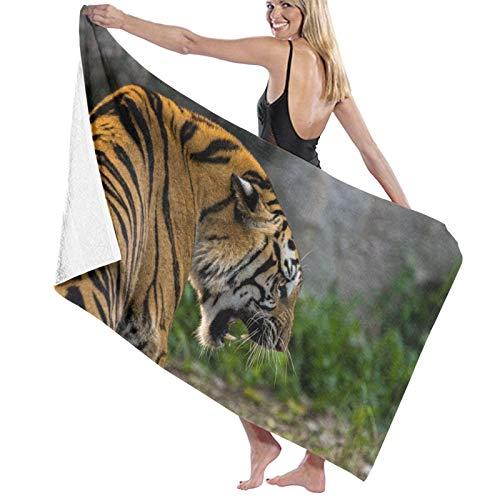 Pureny Tiger_Grin_Predator_124318_1280x720 Toallas de playa de secado rápido, súper absorbentes, toallas de baño, spa, piscina, para natación y al aire libre, 80x130cm