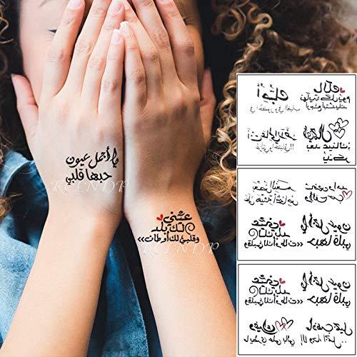 BLOUR Wasserdichter vorübergehender Tätowierungsaufkleber arabischer Buchstabe Herz-Liebes-Muster-Persönlichkeit gefälschte Tatoo-Blitz-Tätowierung für Mädchen-Frauen-Männer