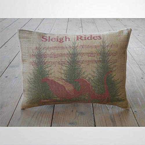 EricauBird Sleigh Rides Pillow Rustic Christmas Shabby Chic Throw Pillow Cover Cushion Cover Pillow case 12x20 inch
